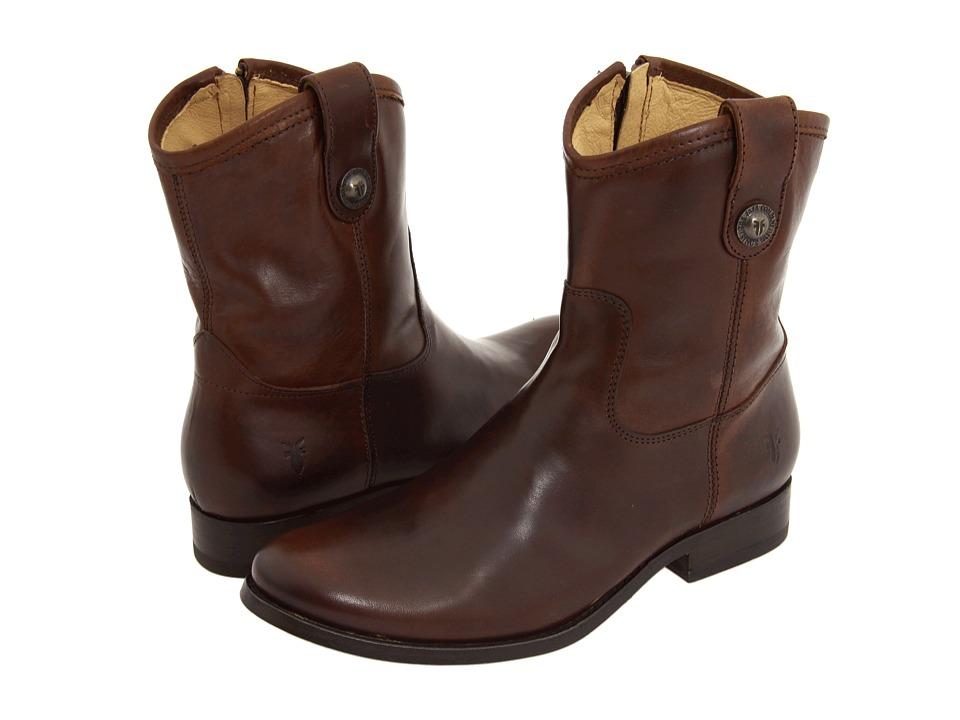 Frye Melissa Button Short (Dark Brown Full Grain Leather) Western Boots