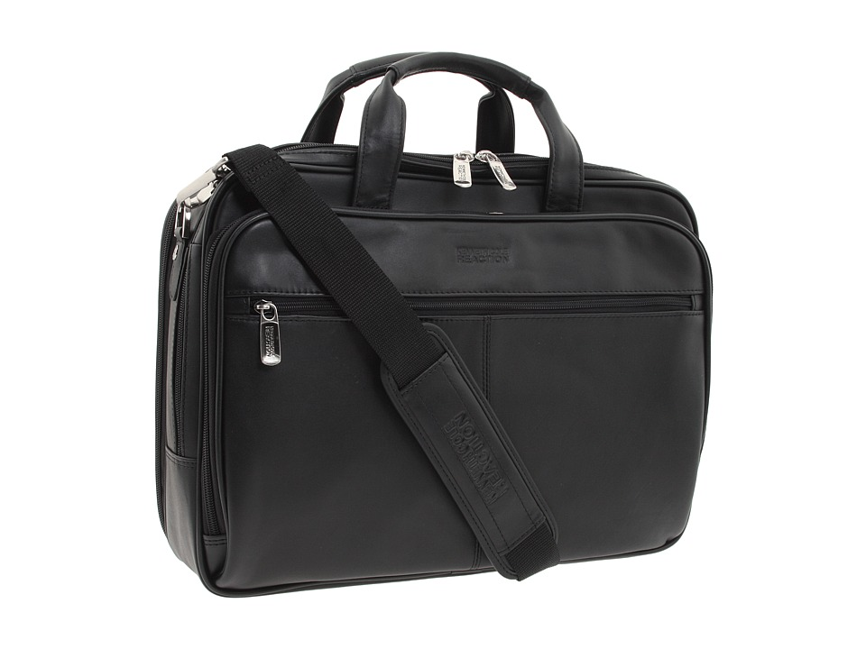 Kenneth Cole Reaction - I Rest My Case - 4 1/2 Double Gusset Top Zip Portfolio Computer Case (Black Nappa Lea) Computer Bags