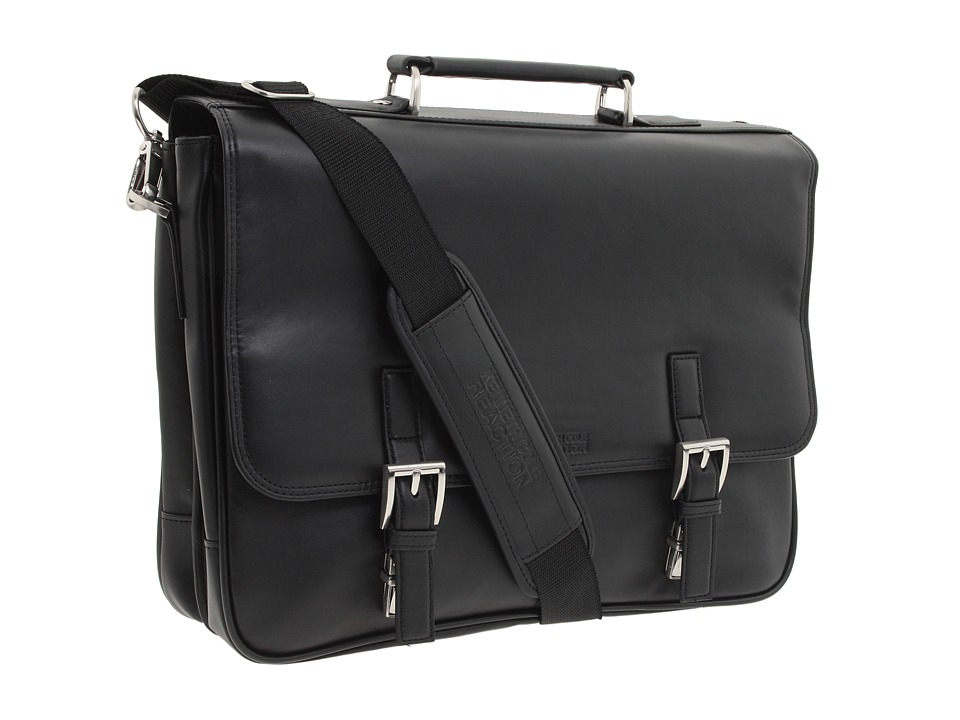 Kenneth Cole Reaction - A Brief History - 5 Double Gusset Flapover Portfolio (Black Nappa Lea) Briefcase Bags