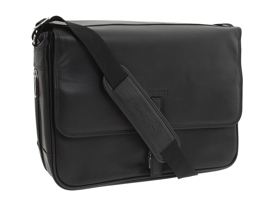 Kenneth Cole Reaction - What A Bag! - 4 1/2 to 6 Single Gusset Expandable Computer Messenger Bag (Black Nappa Lea) Computer Bags