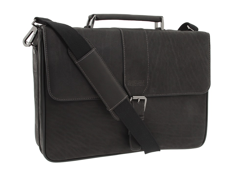 Kenneth Cole Reaction - Till Death Do Us Port - 5 Double Gusset Flapover Portfolio Computer Case (Black Full-Grain Leather) Computer Bags