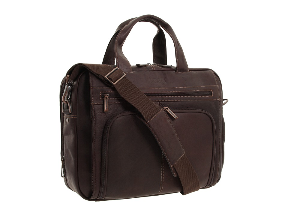 Kenneth Cole Reaction - Out of the Bag - 5 to 6 1/2 Double Gusset Expandable Top Zip Portfolio Computer Case (Dark Brown Full-Grain Leather) Computer Bags