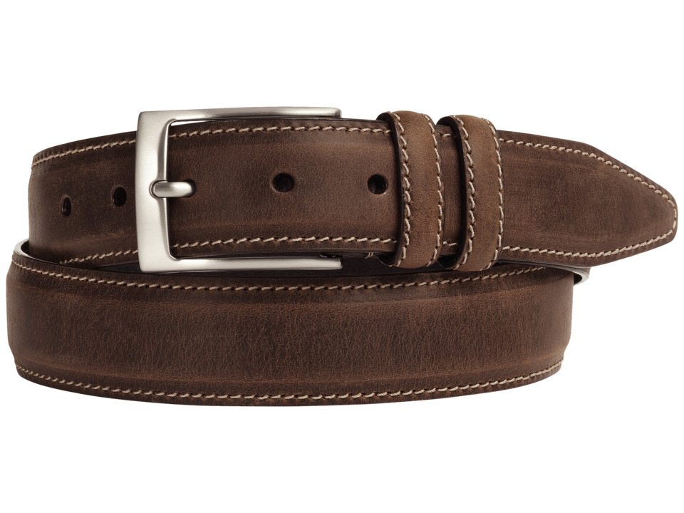 Johnston & Murphy - New Distressed Topstitched (Tan) Mens Belts