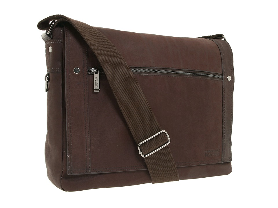 Kenneth Cole Reaction - Busi-Mess Essentials - Single Gusset Flapover Messenger Bag (Brown) Messenger Bags