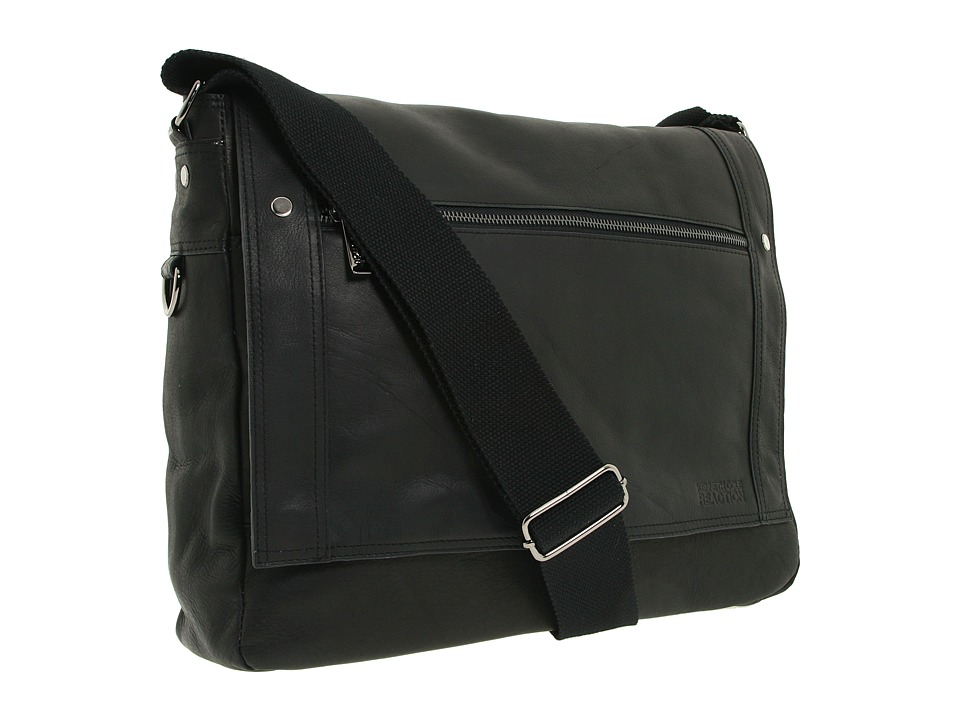Kenneth Cole Reaction - Busi-Mess Essentials - Single Gusset Flapover Messenger Bag (Black) Messenger Bags