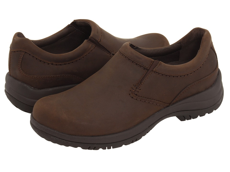 Dansko Wynn (Brown Distressed Leather) Men's Slip on  Shoes