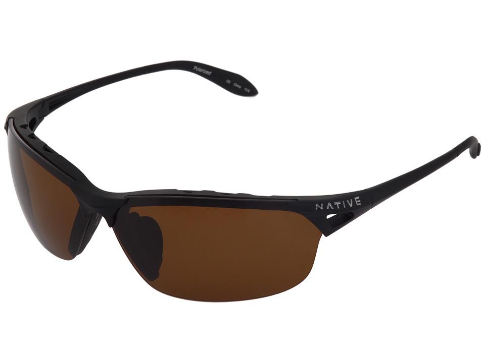 Native Eyewear Vigor Polarized (Asphalt/Brown Polarized Lens) Sport Sunglasses
