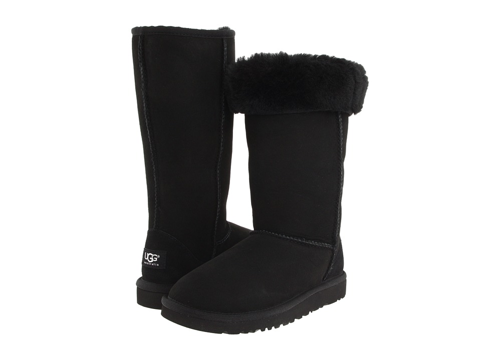 Ugg Kids - Classic Tall (Little Kid/Big Kid) (Black) Girl...
