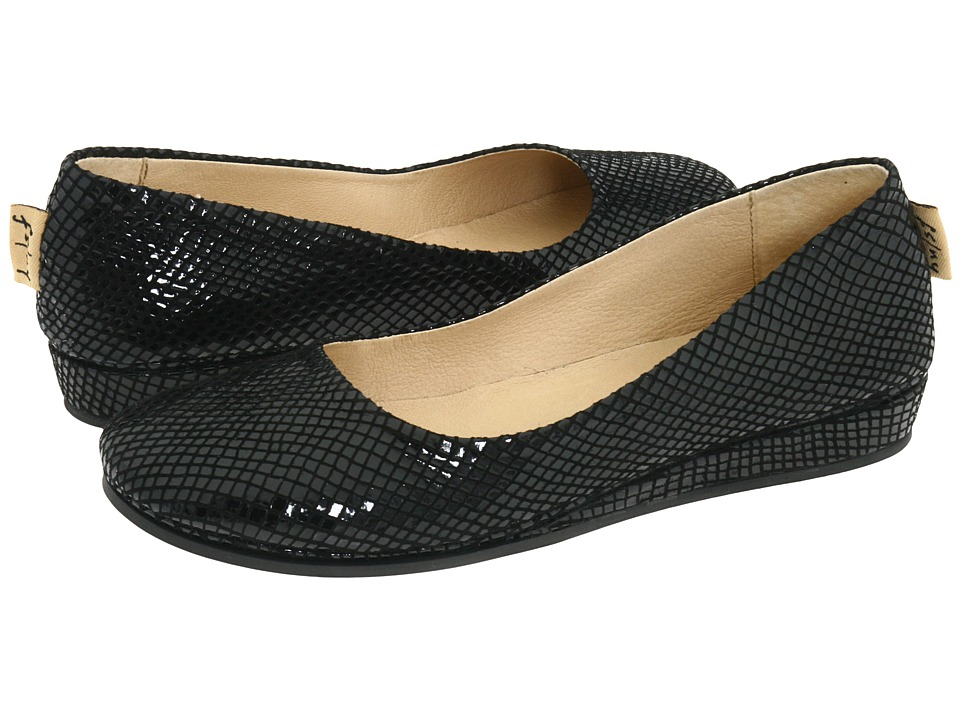 French Sole Zeppa (Black Snake Print Suede)