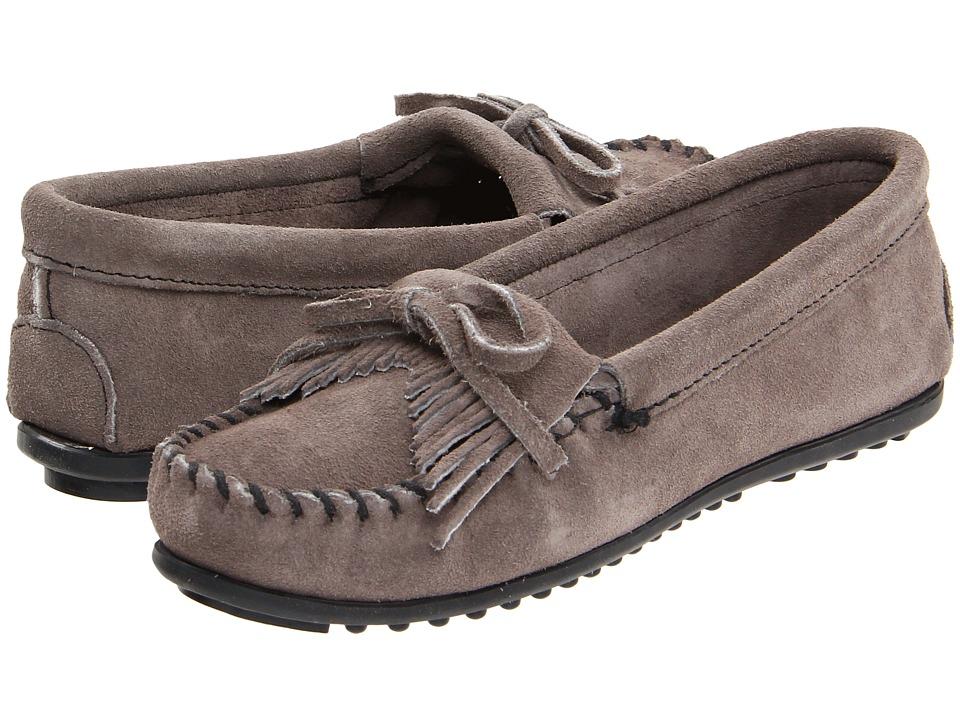 Minnetonka Kilty Suede Moc Medium Grey Suede Womens Moccasin Shoes