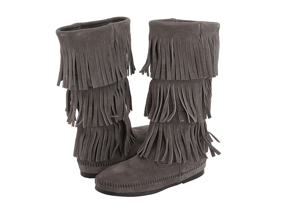 Minnetonka Calf Hi 3-Layer Fringe Boot (Grey) Women