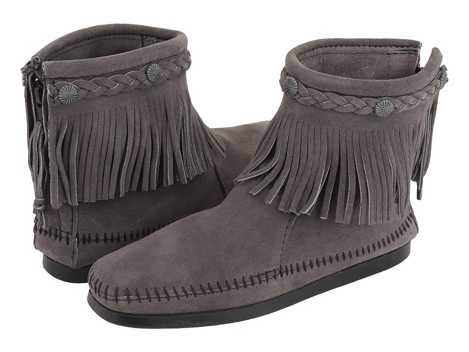 Minnetonka - Hi-Top Back Zip Boot (Medium Grey) Women