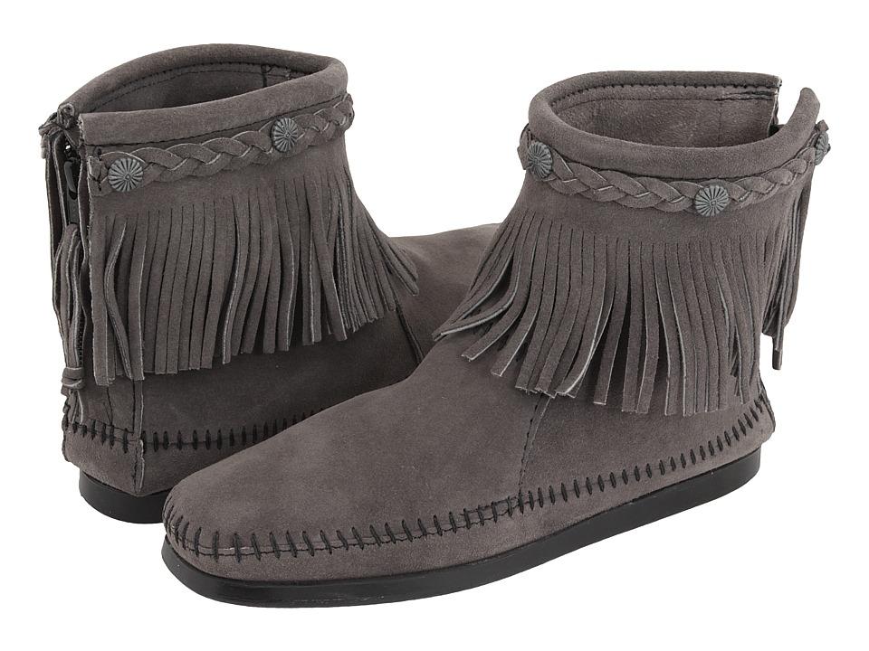 Minnetonka Hi-Top Back Zip Boot (Medium Grey)