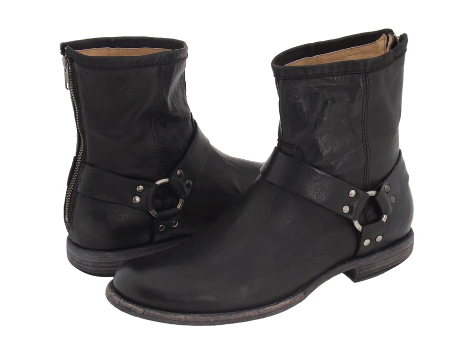 Frye Phillip Harness (Black Vintage Leather) Men's Pull-o...