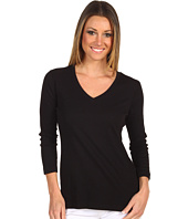 Red Dot - Cotton Knit 3/4 Sleeve Deep V-Neck Top
