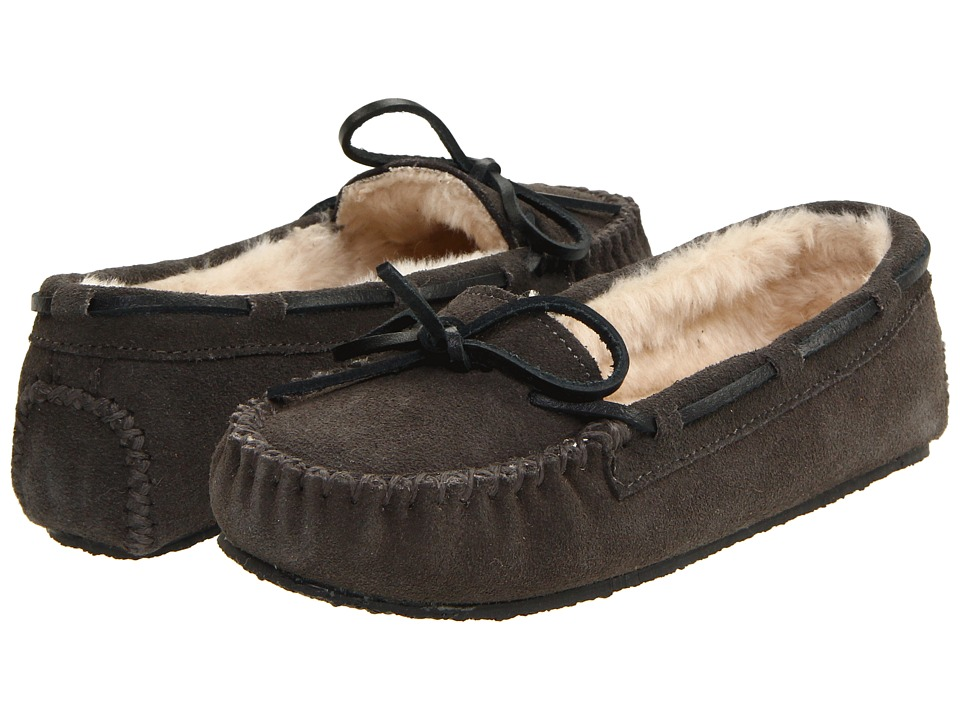 Minnetonka Cally Slipper Grey/Brown/White Womens Moccasin Shoes