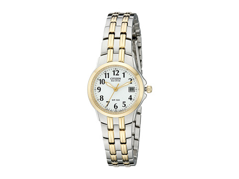 Citizen Watches EW1544-53A Eco-Drive Silhouette Sport Two-Tone Watch - White/Two Tone Stainless Steel