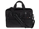 Tumi - Alpha - Expandable Leather Organizer Computer Brief (Black) - Bags and Luggage