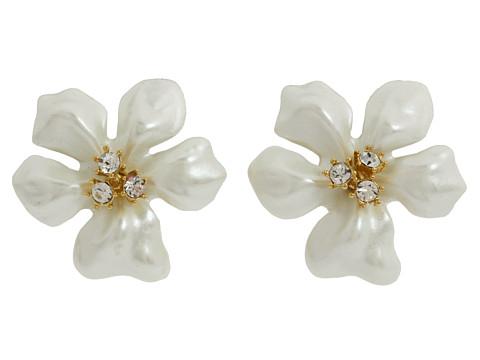 Kenneth Jay Lane Flowergirl Earrings - White