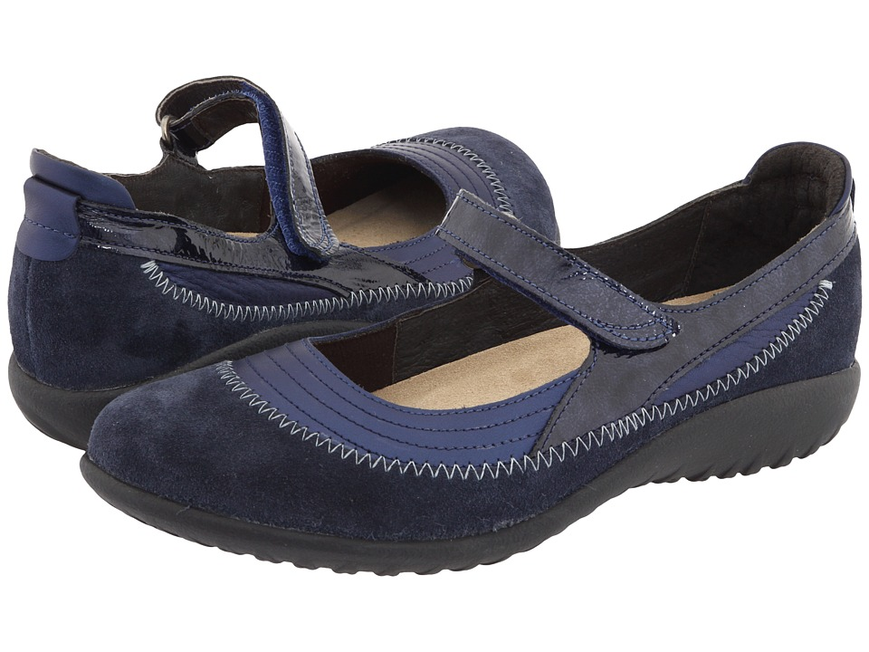Naot Kirei (Polar Sea Leather/Blue Velvet Suede/Navy Patent Leather) Maryjanes