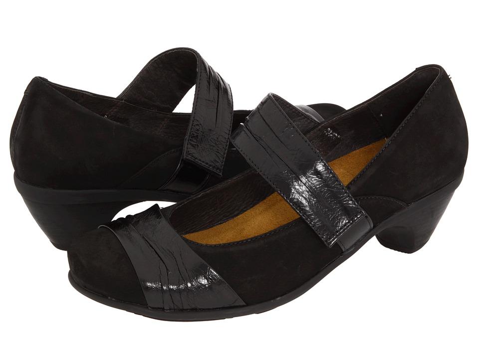 Naot Attitude (Black Velvet Nubuck/Black Gloss Leather) Women