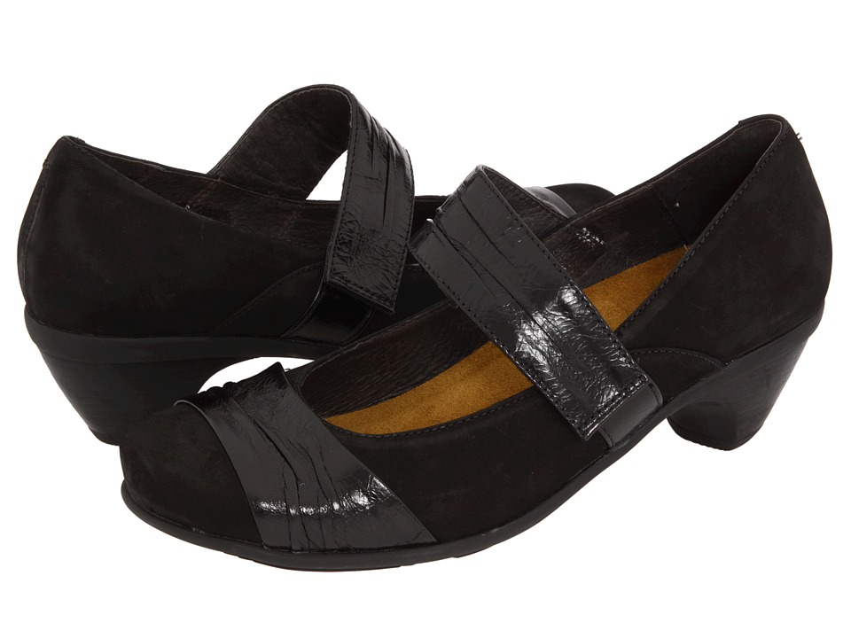 Naot Footwear Attitude Black Velvet Nubuck/Black Gloss Leather Womens Maryjane Shoes