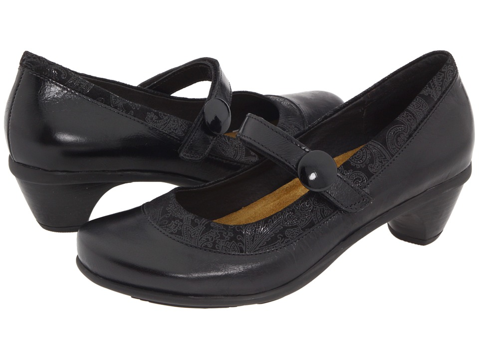 Naot - Trendy (Black Gloss Leather/Black Lace Nubuck) Womens Maryjane Shoes