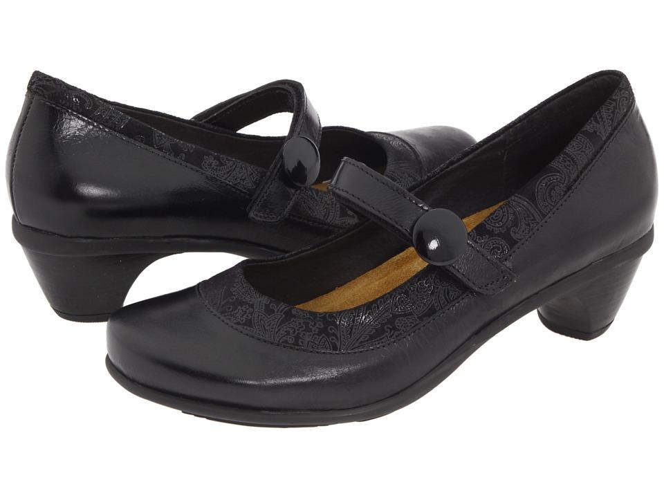 Naot Trendy (Black Gloss Leather/Black Lace Nubuck) Women...