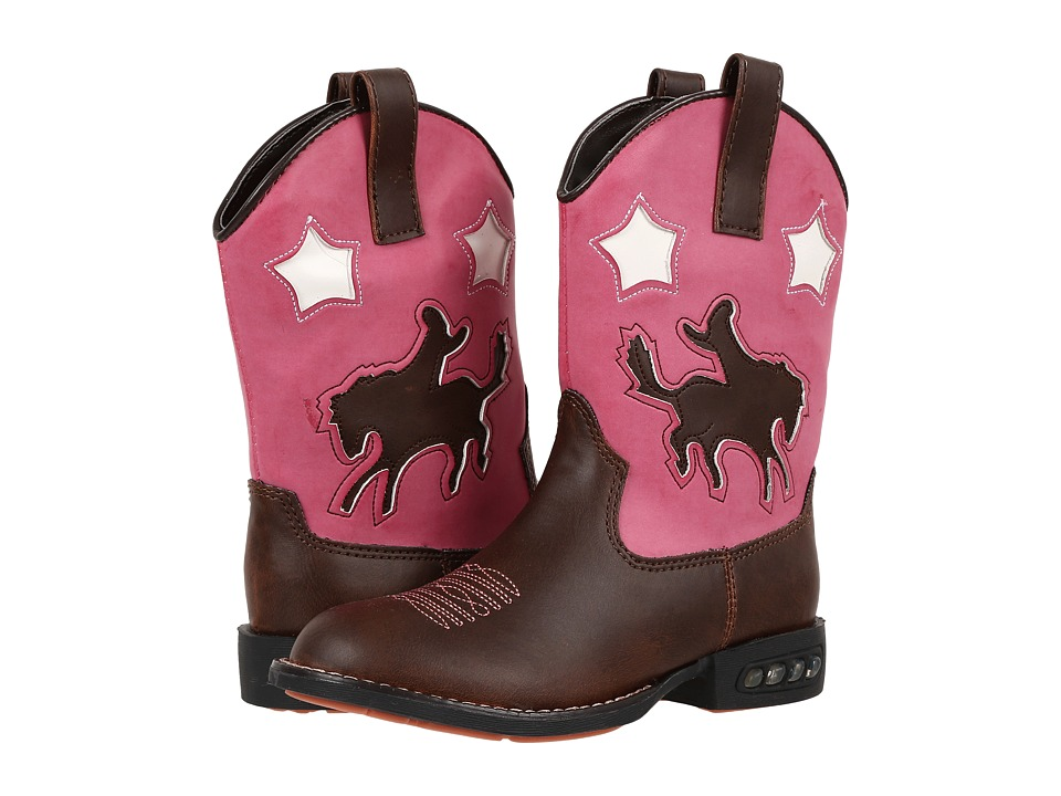 Roper Kids Western Lights Cowboy Boots (Toddler/Little Kid) (Brown/Pink) Cowboy Boots