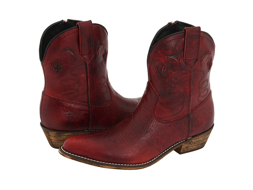 Dingo Adobe Rose Red Distressed Cowboy Boots