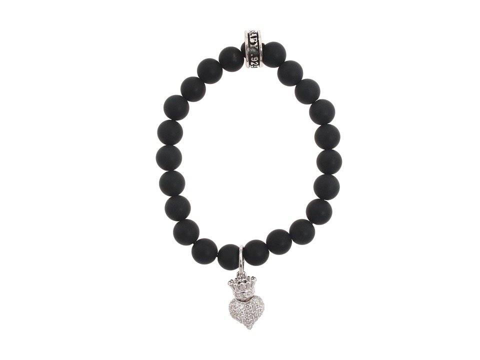King Baby Studio - Onyx Bead Bracelet with Baby Crowned Heart