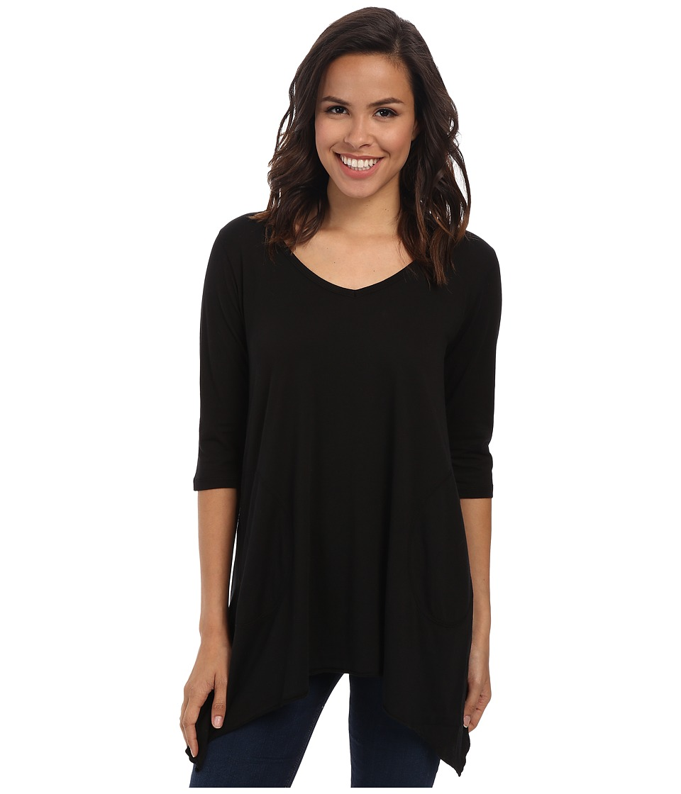 Allen Allen 3/4 Sleeve V Angled Tunic Black Womens Short Sleeve Pullover