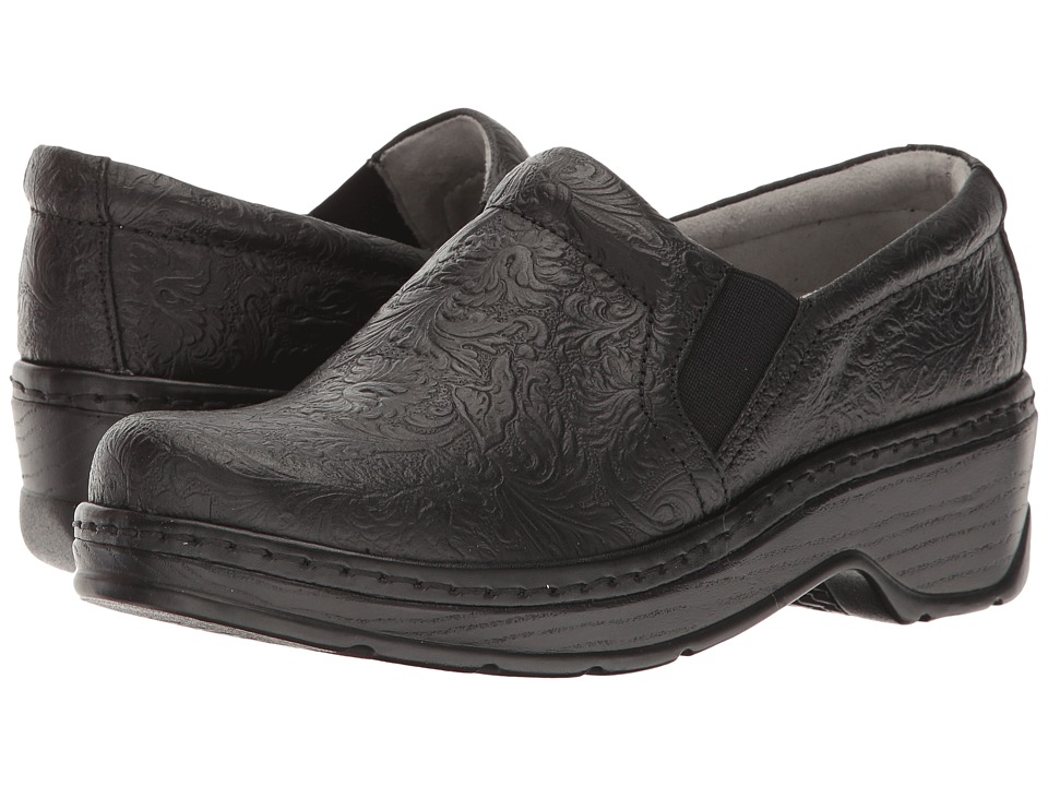 Klogs Footwear Naples (Black Tooled Leather) Women's Clogs