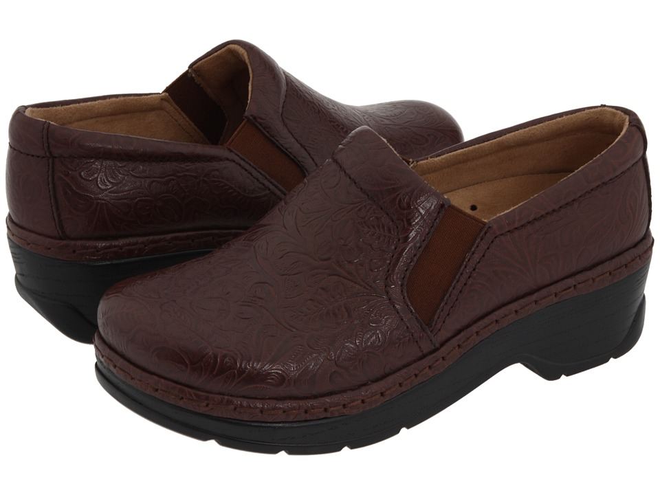 Klogs - Naples (Coffee Tooled Leather) Women's Clog Shoes