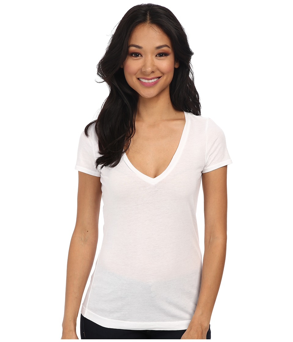 Three Dots - Jersey Colette S/S Deep V-Neck (White) Womens T Shirt