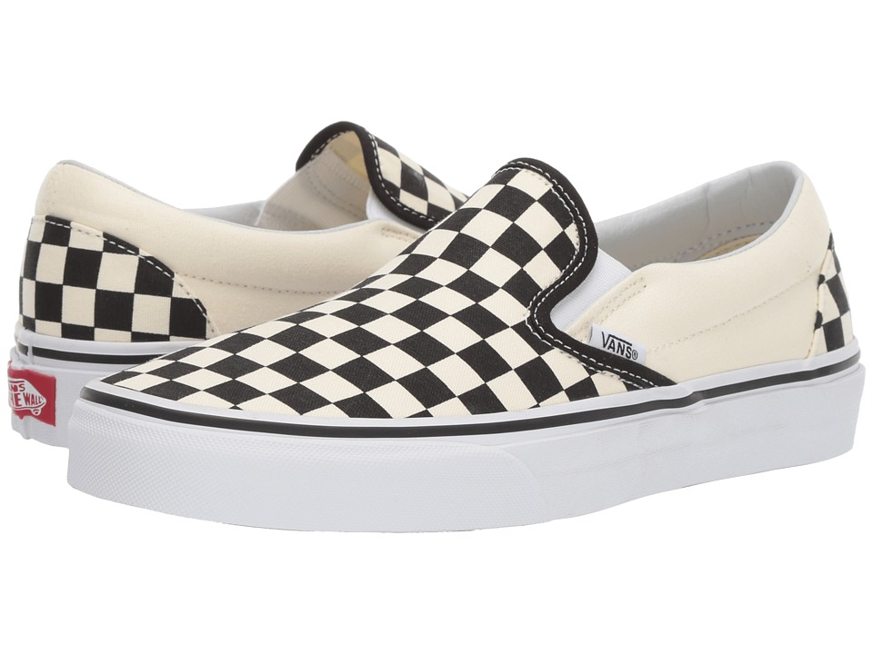 Vans Classic Slip-On Core Classics (Black and White Checker/White (Canvas)) Shoes