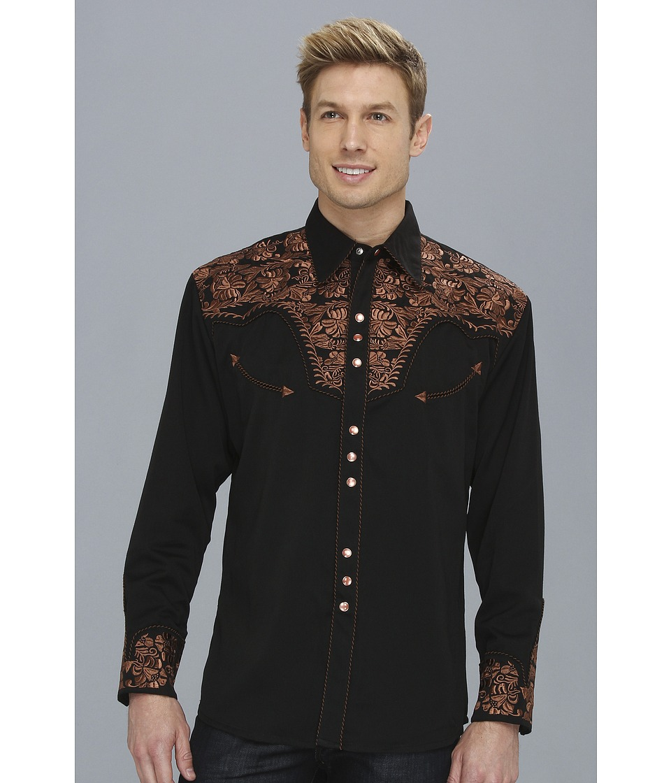 Scully Floral Tooled Shirt (Black) Men's Long Sleeve Butt...