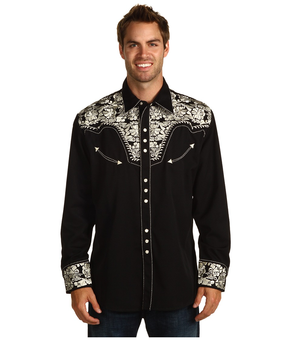 Scully - Floral Tooled Shirt (Silver/Black) Mens Long Sleeve Button Up