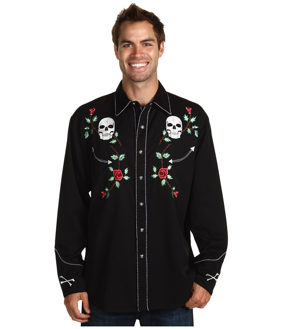 Scully - Skull Roses Shirt (Black) Mens Long Sleeve Button Up