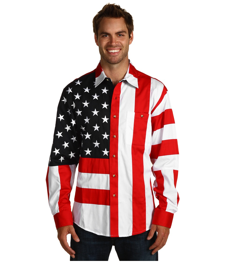Scully Patriot Shirt RedWhiteBlue Mens Long Sleeve Button Up