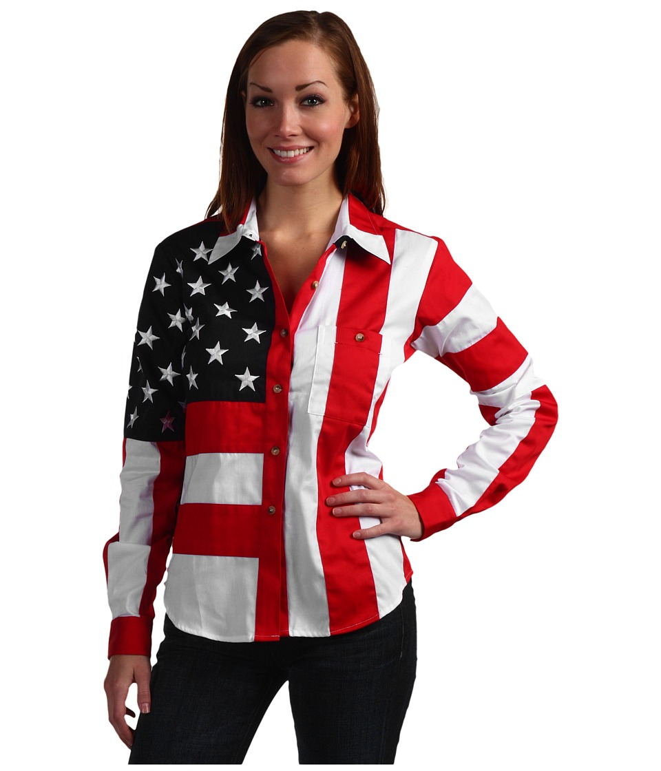 Scully - Flag Shirt (Red/White/Blue) Womens Long Sleeve Button Up