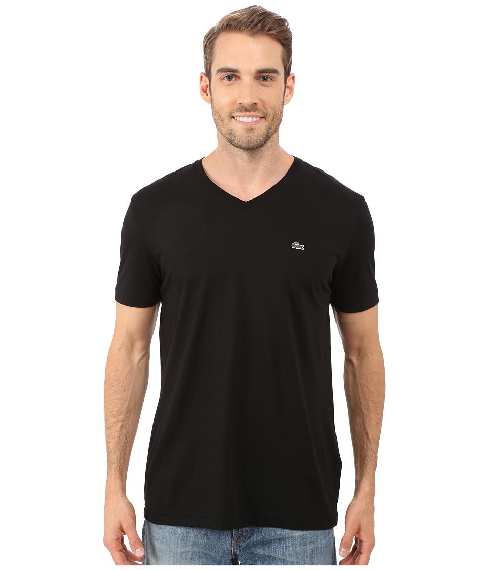Lacoste S/S Pima Jersey V-Neck T-Shirt (Black) Men