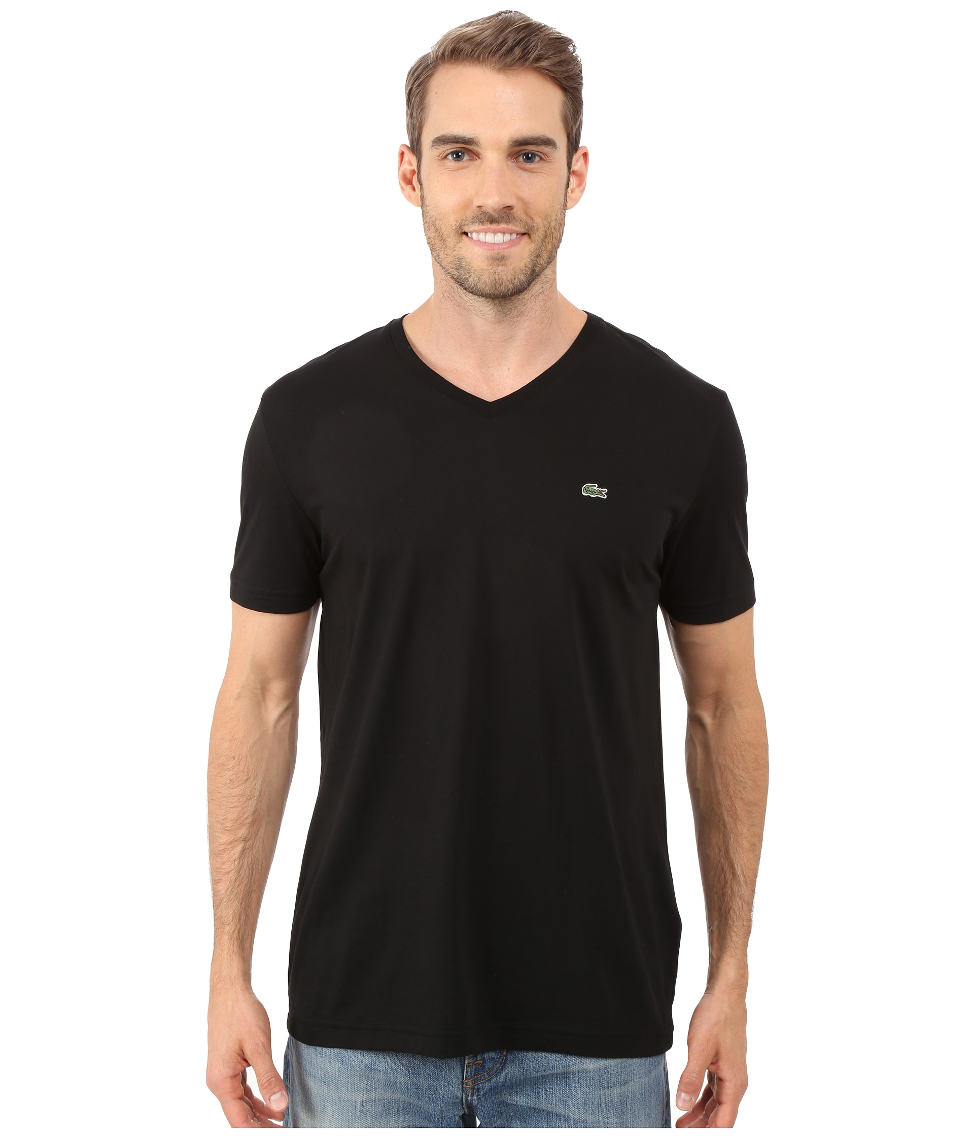 lacoste s s pima jersey v neck t shirt free. Black Bedroom Furniture Sets. Home Design Ideas