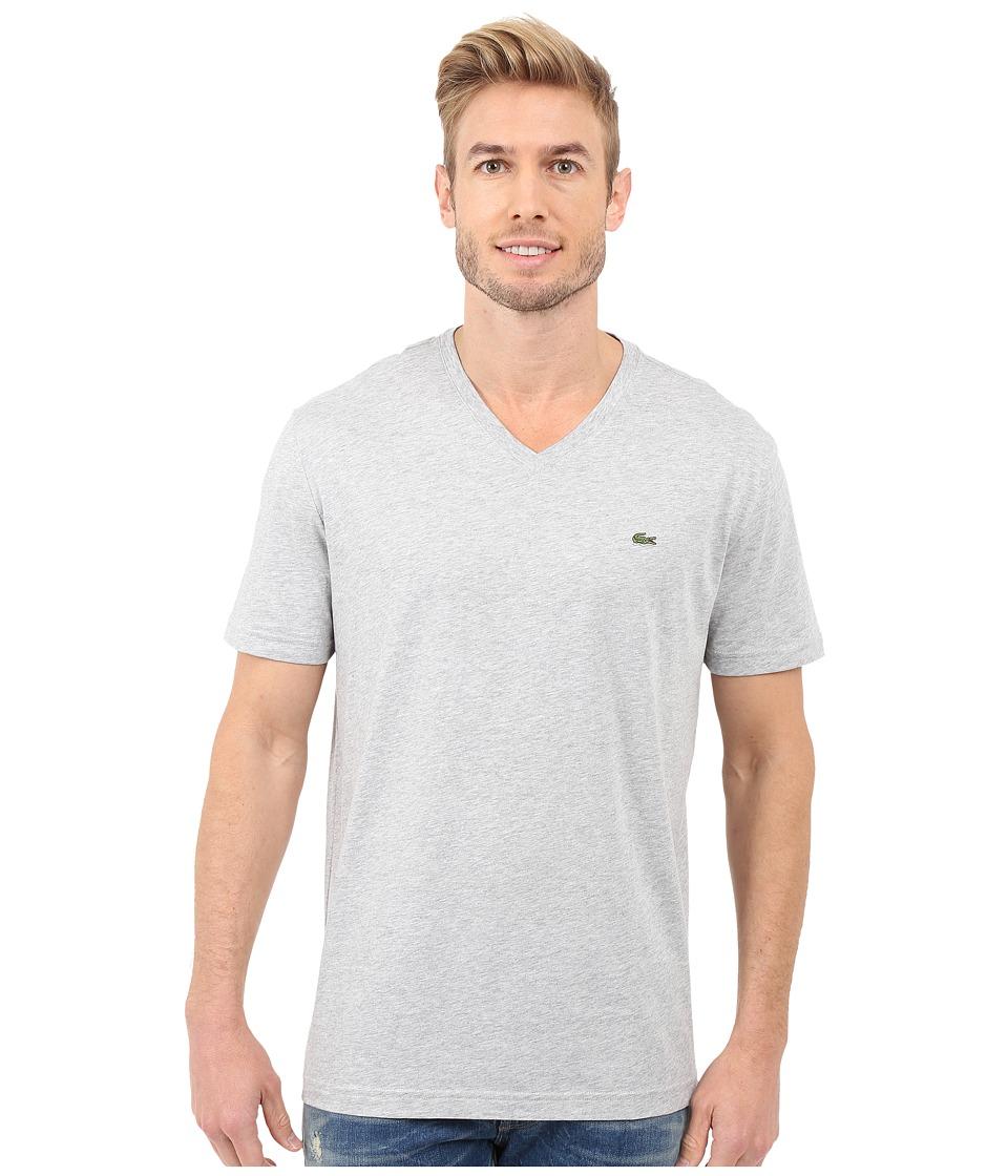 Lacoste S/S Pima Jersey V-Neck T-Shirt (Silver Grey Chine) Men