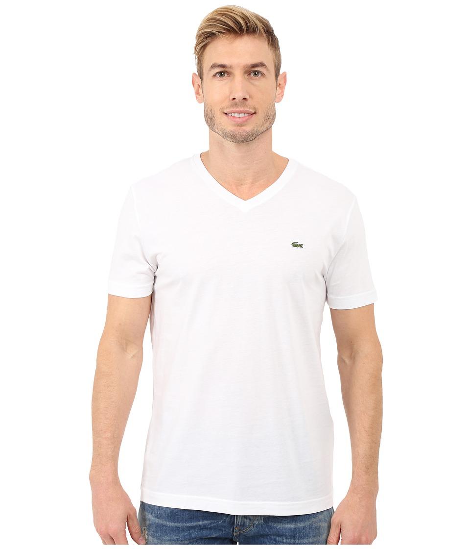 Lacoste S/S Pima Jersey V-Neck T-Shirt (White) Men