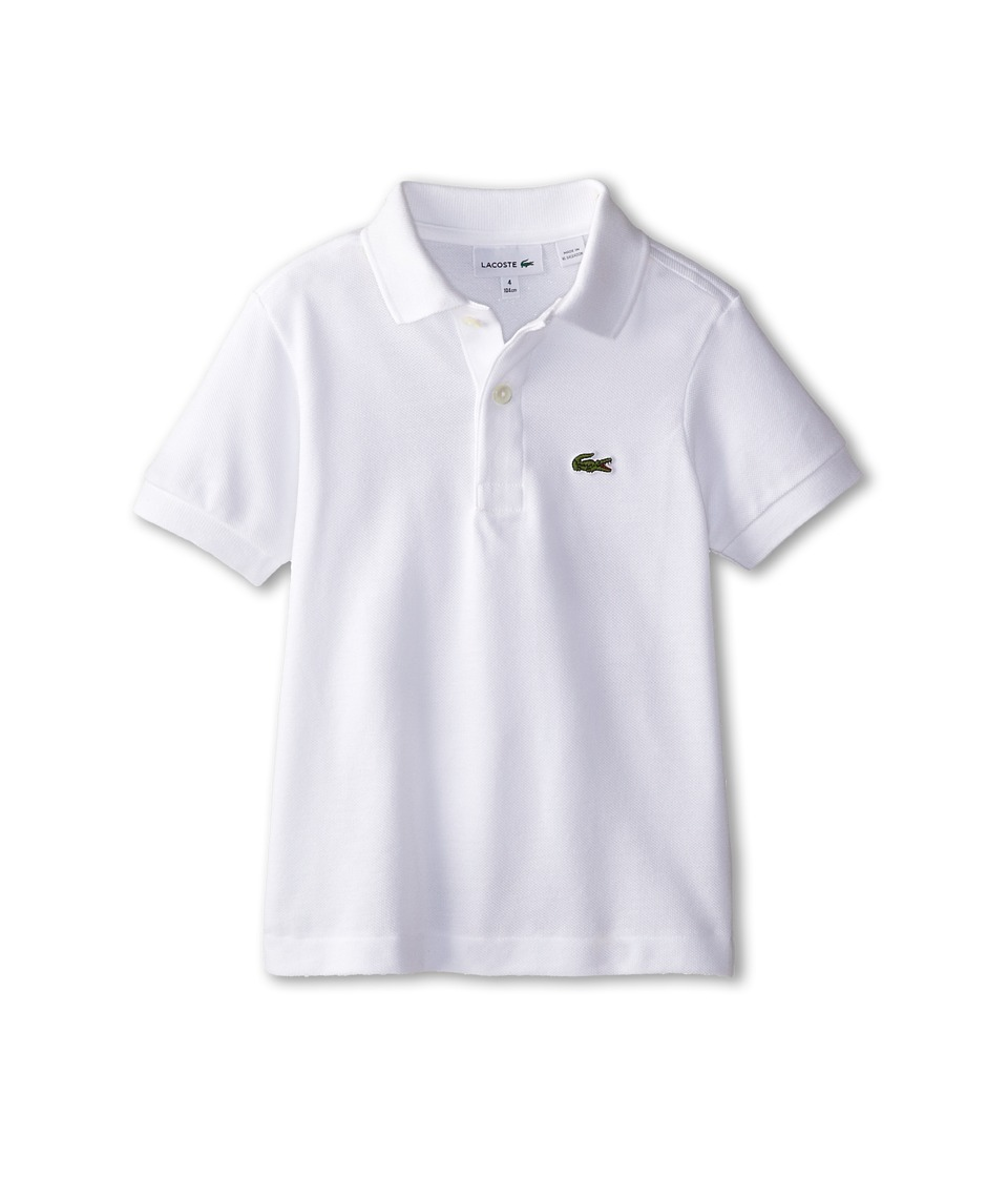Lacoste Kids - Short Sleeve Classic Pique Polo Shirt (Toddler/Little Kids/Big Kids) (White) Boy