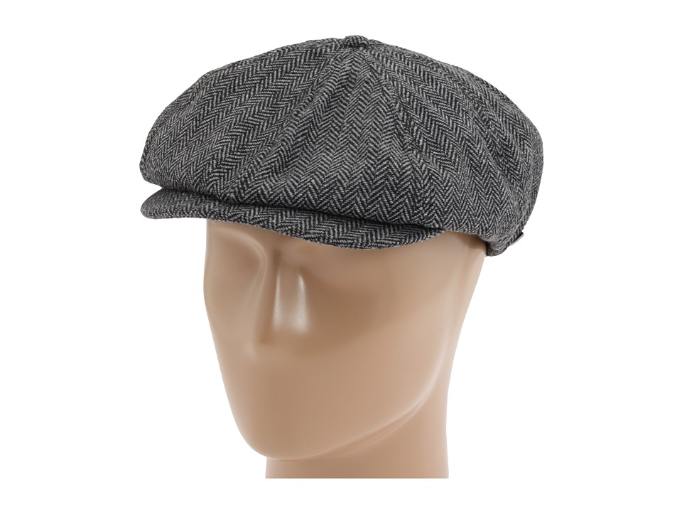 1930s Men's Clothing Brixton Brood Snap Cap GreyBlack Herringbone Caps $35.00 AT vintagedancer.com
