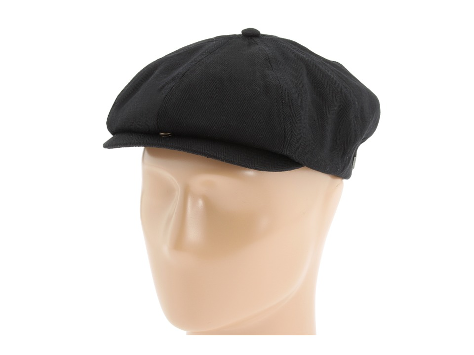 Mens 1920s Style Hats and Caps Brixton - Brood Black Herringbone Twill Caps $24.99 AT vintagedancer.com