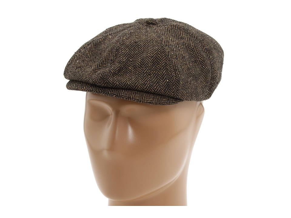 Mens 1920s Style Hats and Caps Brixton - Brood BrownKhaki Herringbone Caps $35.00 AT vintagedancer.com