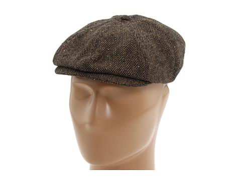 Brixton Brood Snap Cap - Brown/Khaki Herringbone